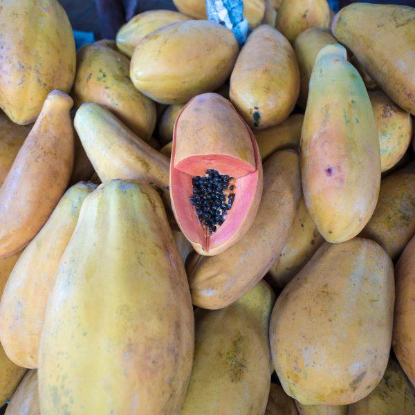 papaya fruit. Kandy central market, Sri Lanka, travel, destination, travel blogger, outlanderly, Ella, beaches, scenery, hiking, mountains, trains