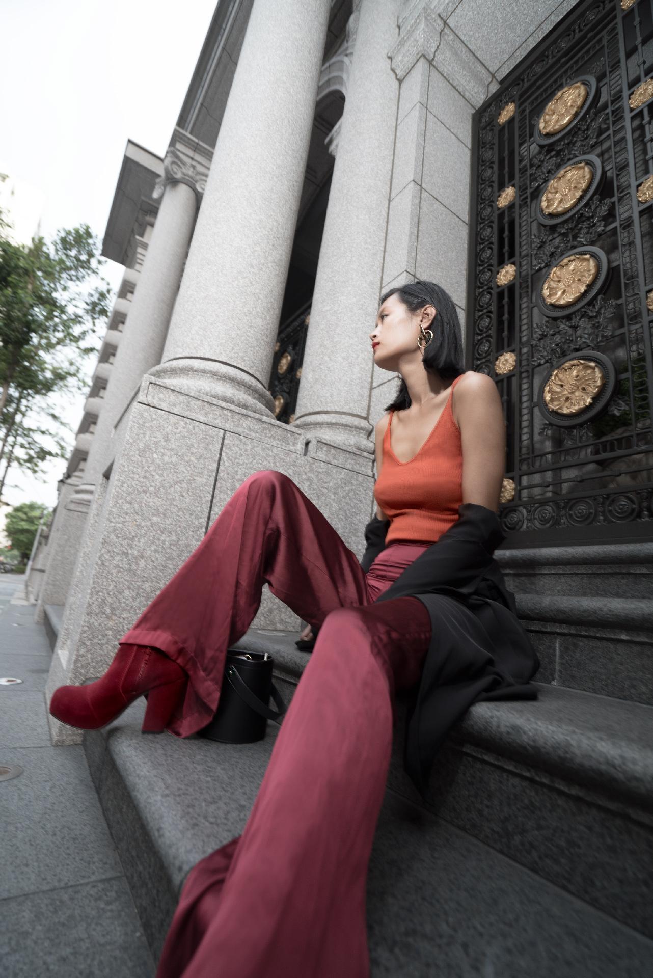 Wearing Silk Pants in Fall, silk pants, red silk pants