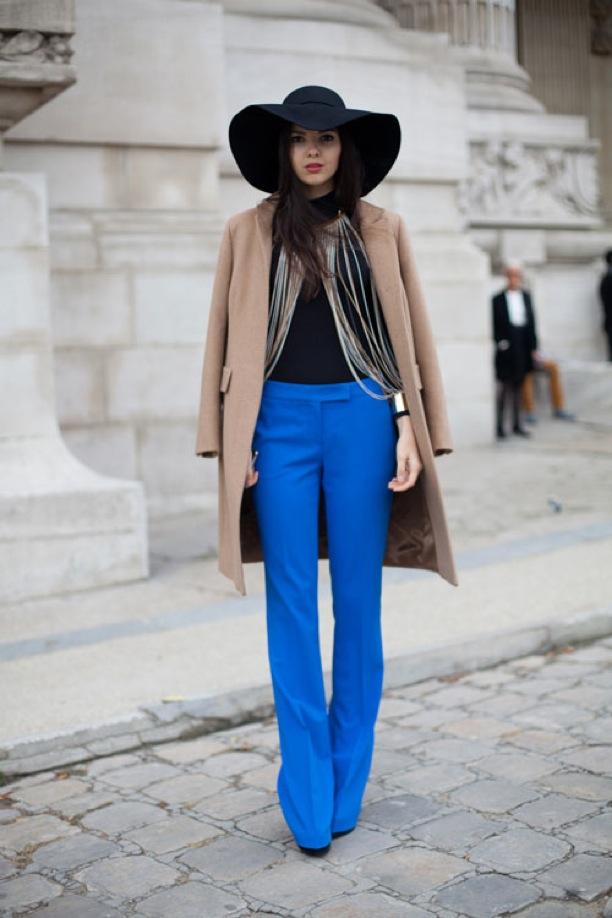 Blue pants street-style