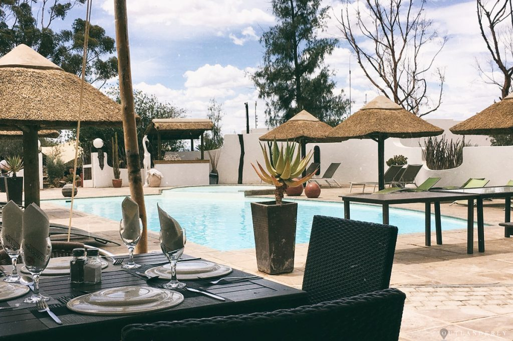Lunch by the poolside at the Inverdoorn reserve